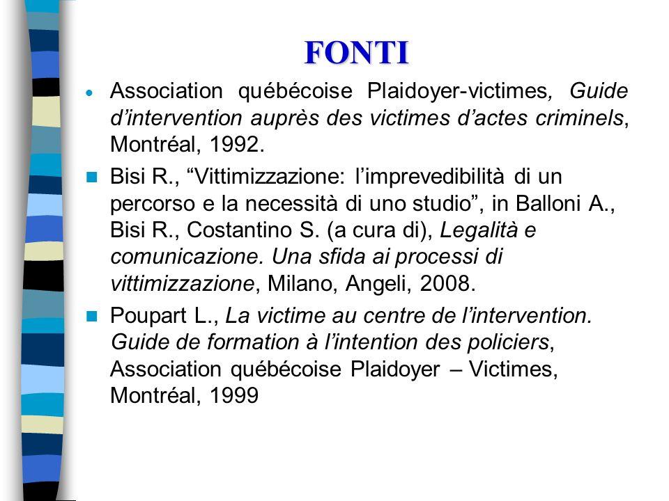 FONTI Association québécoise Plaidoyer-victimes, Guide d'intervention auprès des victimes d'actes criminels, Montréal, 1992.