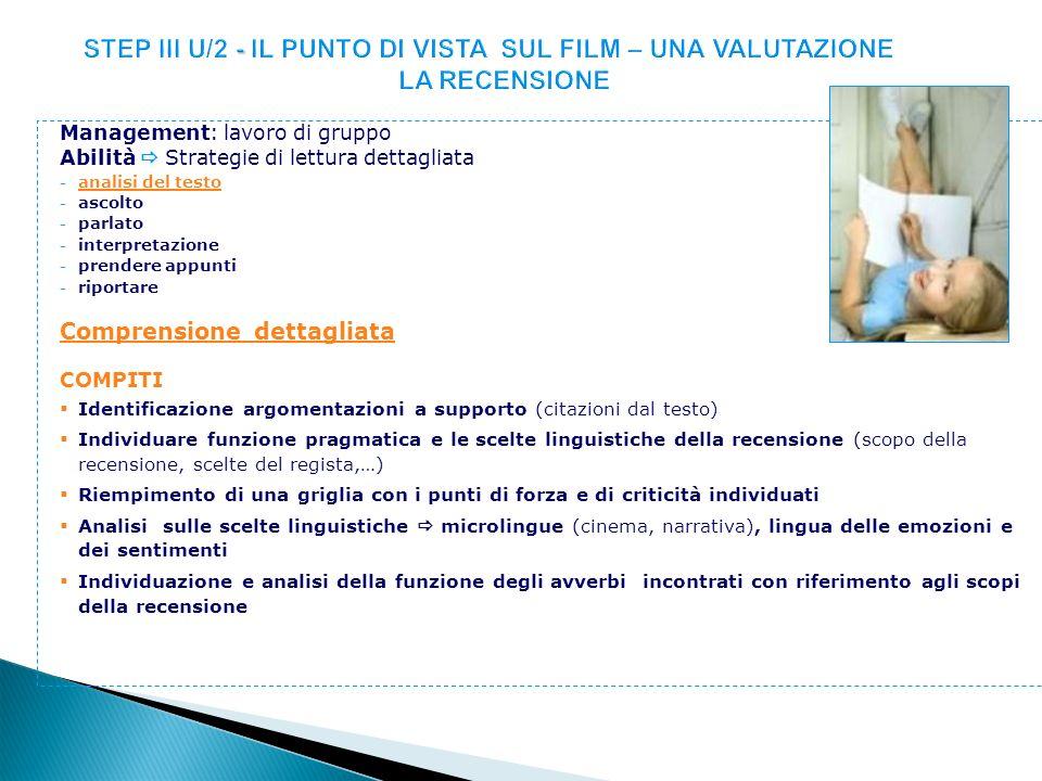 STEP III U/2 - IL PUNTO DI VISTA SUL FILM – UNA VALUTAZIONE