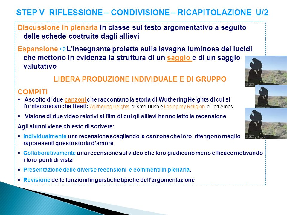 STEP V RIFLESSIONE – CONDIVISIONE – RICAPITOLAZIONE U/2