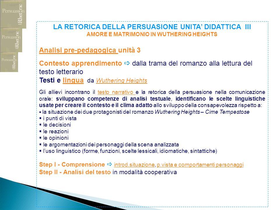 Analisi pre-pedagogica unità 3