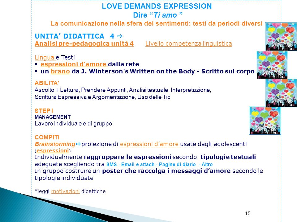 LOVE DEMANDS EXPRESSION Dire Ti amo