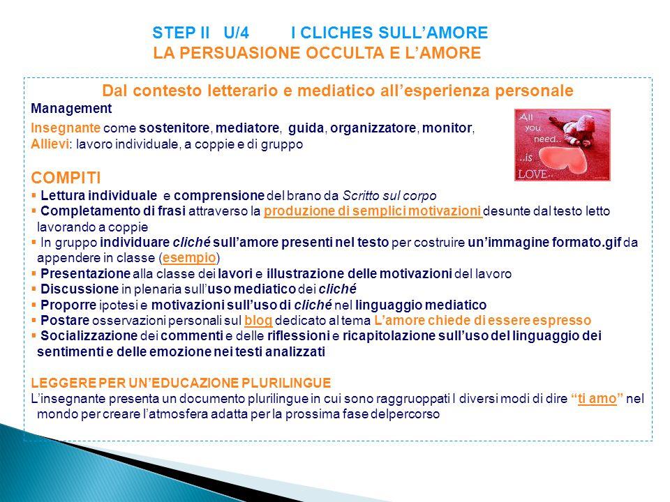 STEP II U/4 I CLICHES SULL'AMORE LA PERSUASIONE OCCULTA E L'AMORE