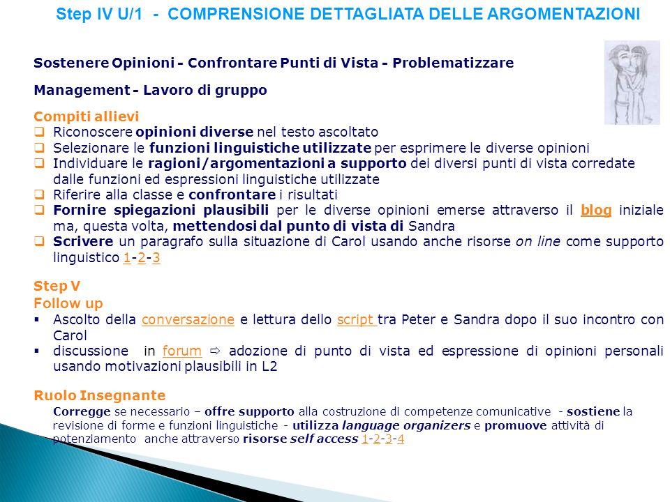 Step IV U/1 - COMPRENSIONE DETTAGLIATA DELLE ARGOMENTAZIONI