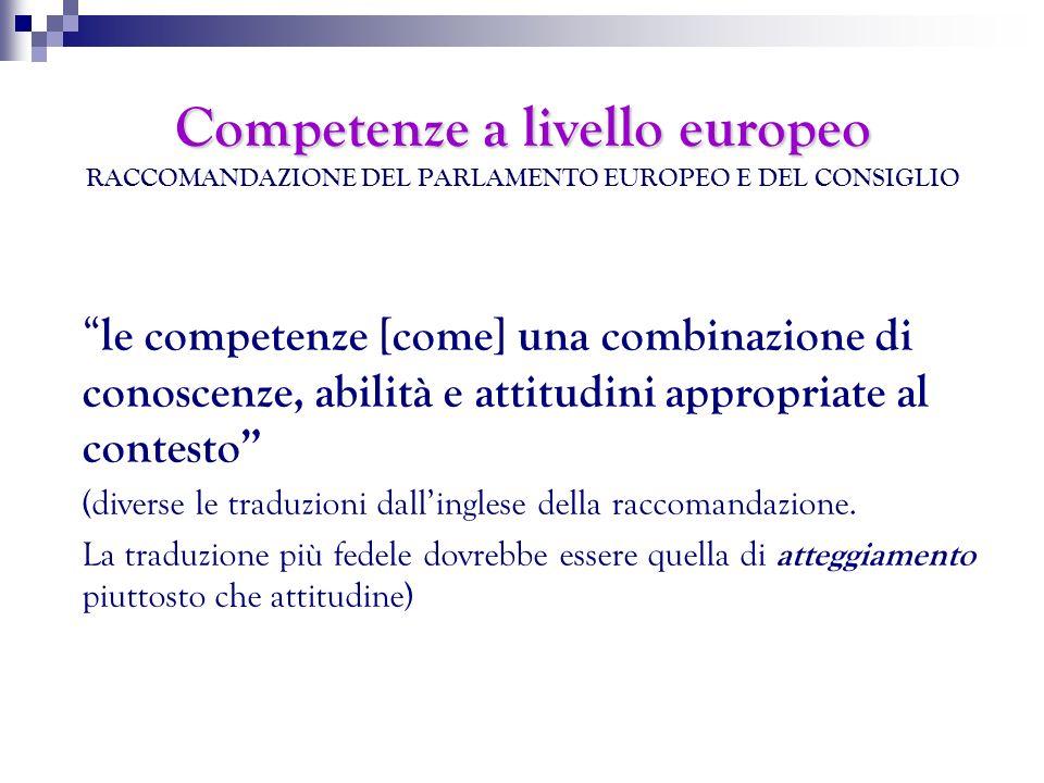 Competenze a livello europeo RACCOMANDAZIONE DEL PARLAMENTO EUROPEO E DEL CONSIGLIO