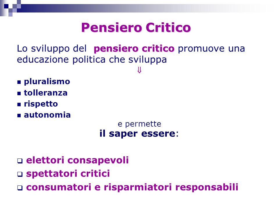 Pensiero Critico Lo sviluppo del pensiero critico promuove una educazione politica che sviluppa. 