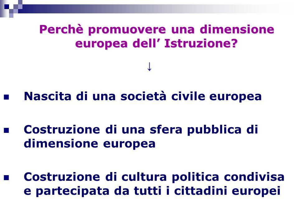 Perchè promuovere una dimensione europea dell' Istruzione