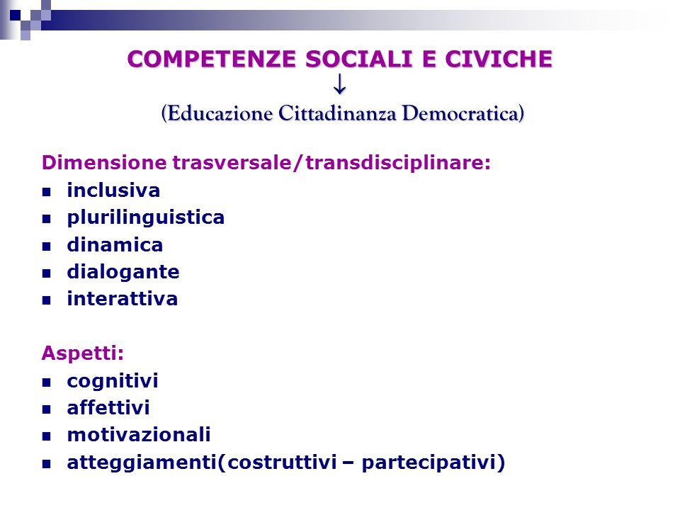 COMPETENZE SOCIALI E CIVICHE  (Educazione Cittadinanza Democratica)