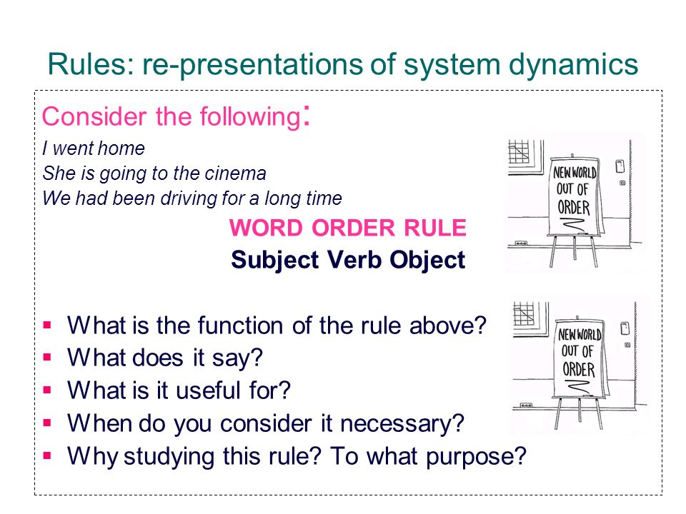 Rules: re-presentations of system dynamics