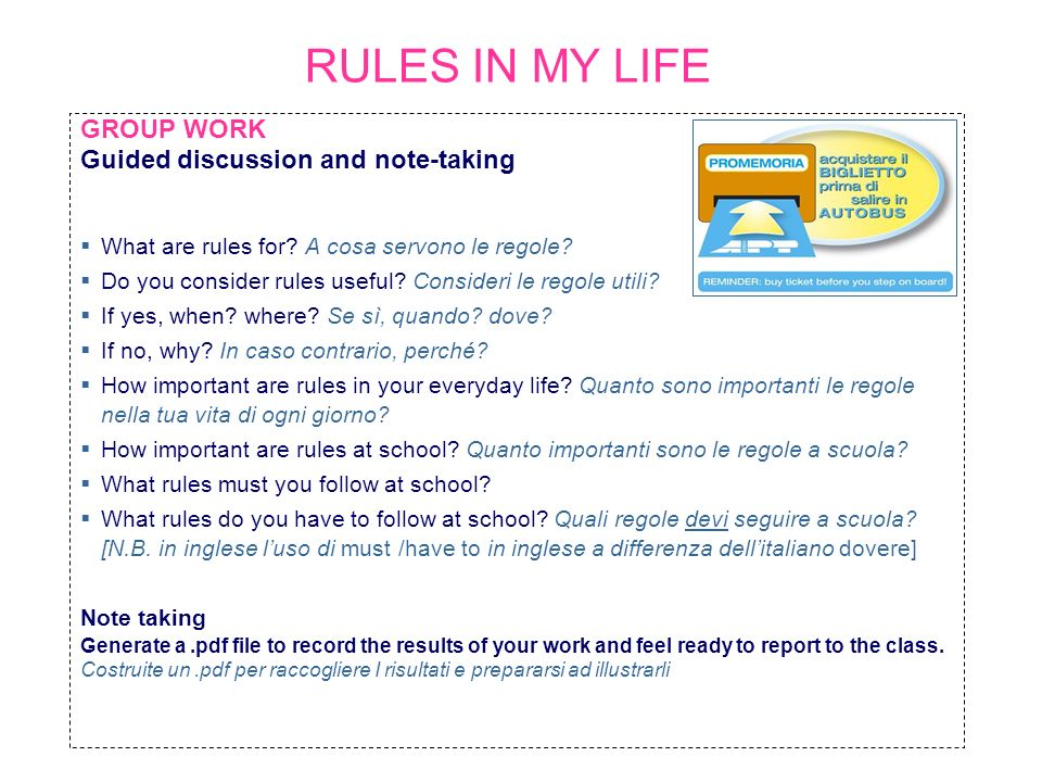 RULES IN MY LIFE GROUP WORK Guided discussion and note-taking