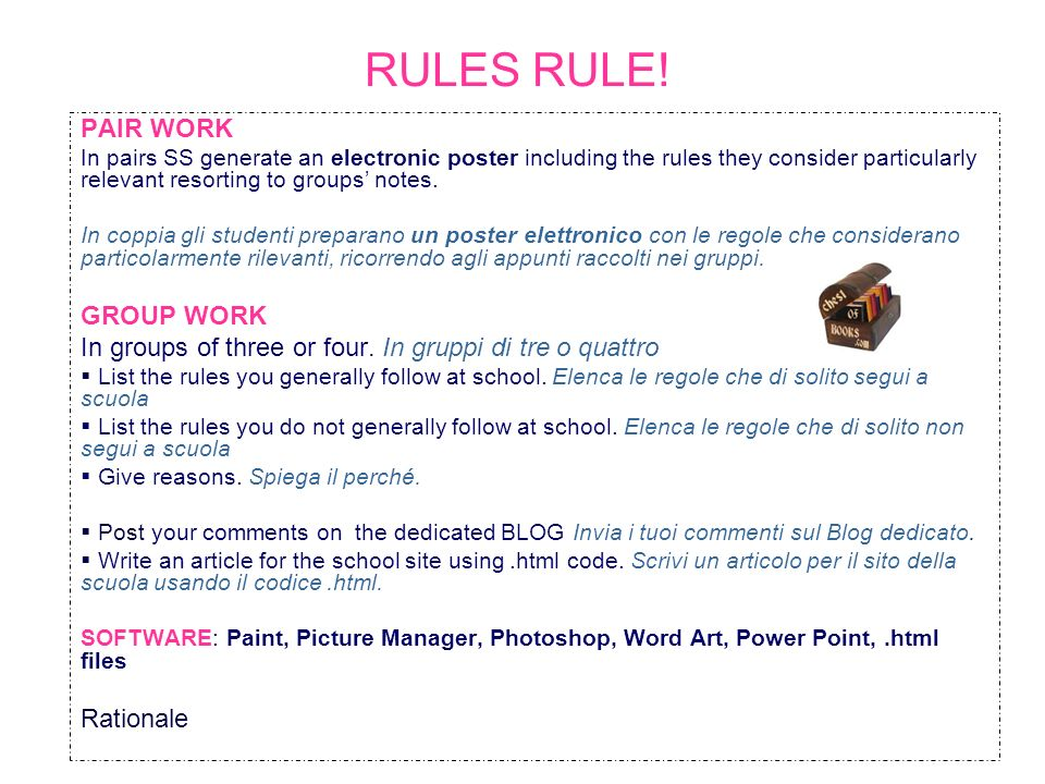 RULES RULE! PAIR WORK GROUP WORK