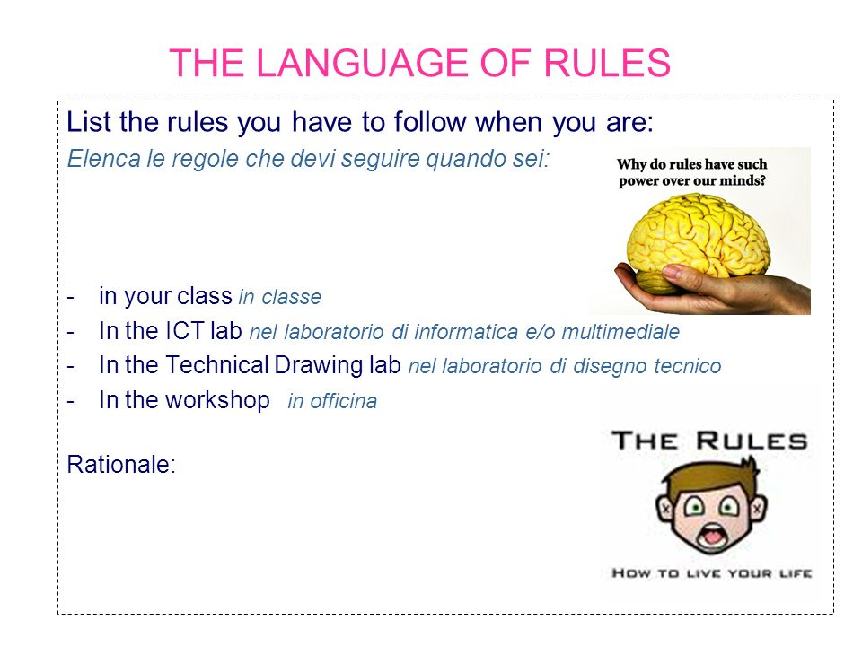 THE LANGUAGE OF RULES List the rules you have to follow when you are: