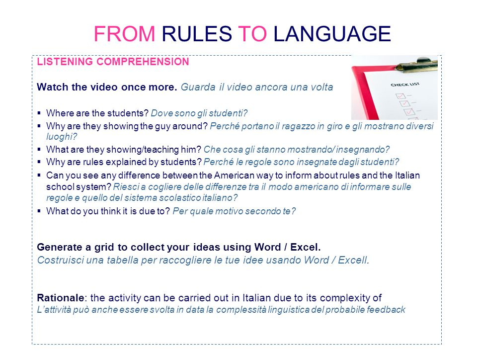 FROM RULES TO LANGUAGE LISTENING COMPREHENSION