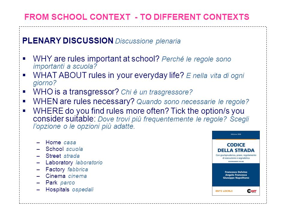 FROM SCHOOL CONTEXT - TO DIFFERENT CONTEXTS