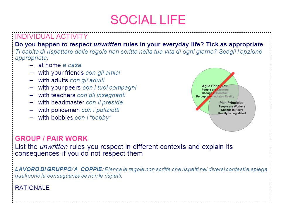 SOCIAL LIFE INDIVIDUAL ACTIVITY GROUP / PAIR WORK