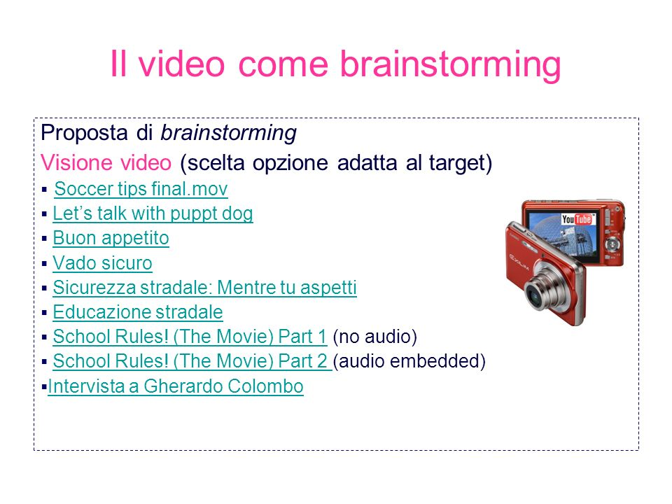 Il video come brainstorming