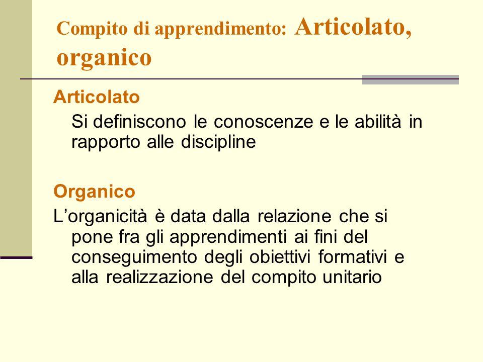 Compito di apprendimento: Articolato, organico