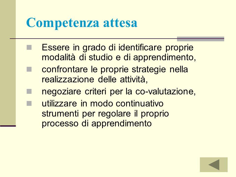 Competenza attesa Essere in grado di identificare proprie modalità di studio e di apprendimento,