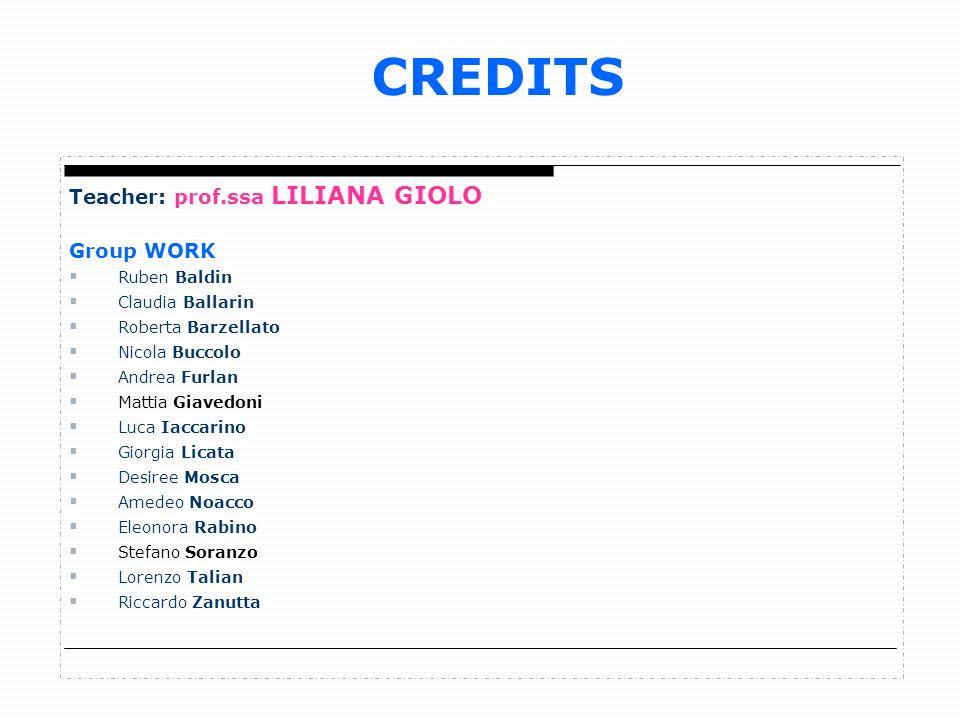 CREDITS Teacher: prof.ssa LILIANA GIOLO Group WORK Ruben Baldin