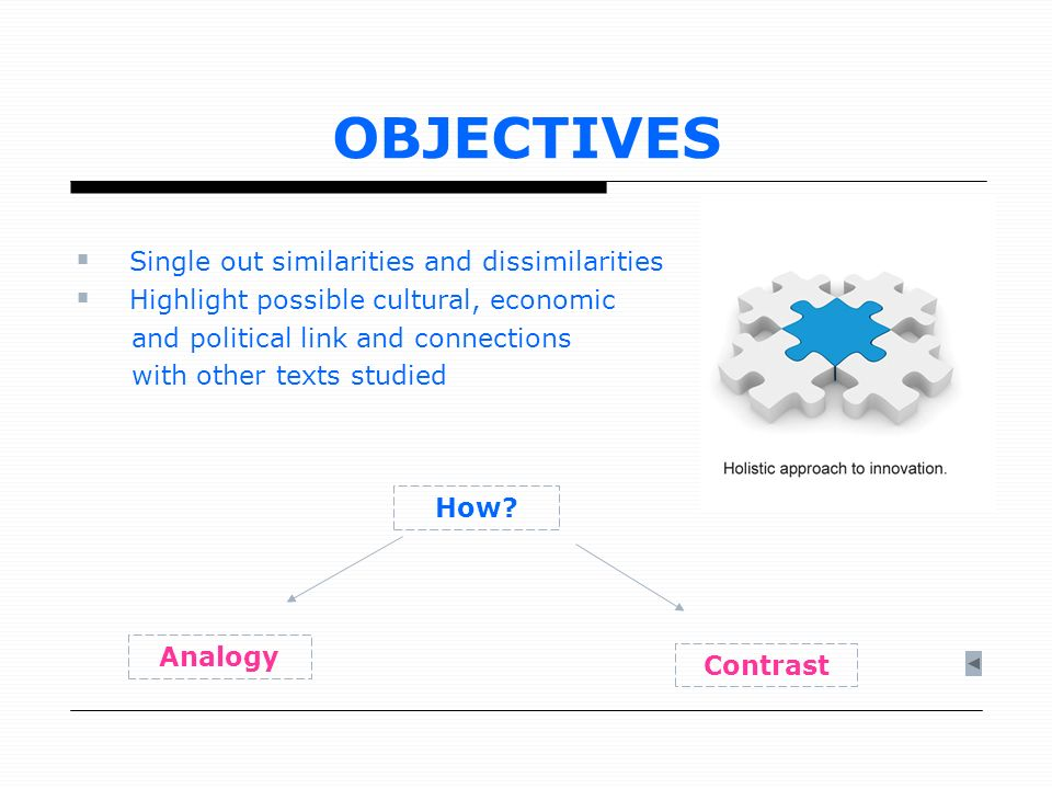 OBJECTIVES Single out similarities and dissimilarities