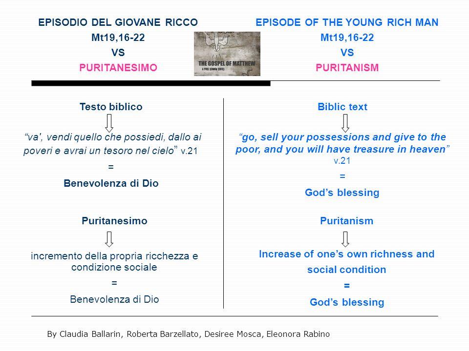 EPISODIO DEL GIOVANE RICCO Mt19,16-22 VS PURITANESIMO