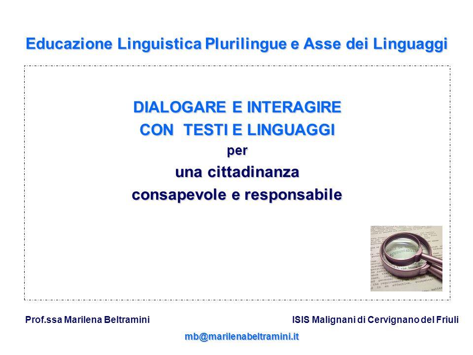 Educazione Linguistica Plurilingue e Asse dei Linguaggi