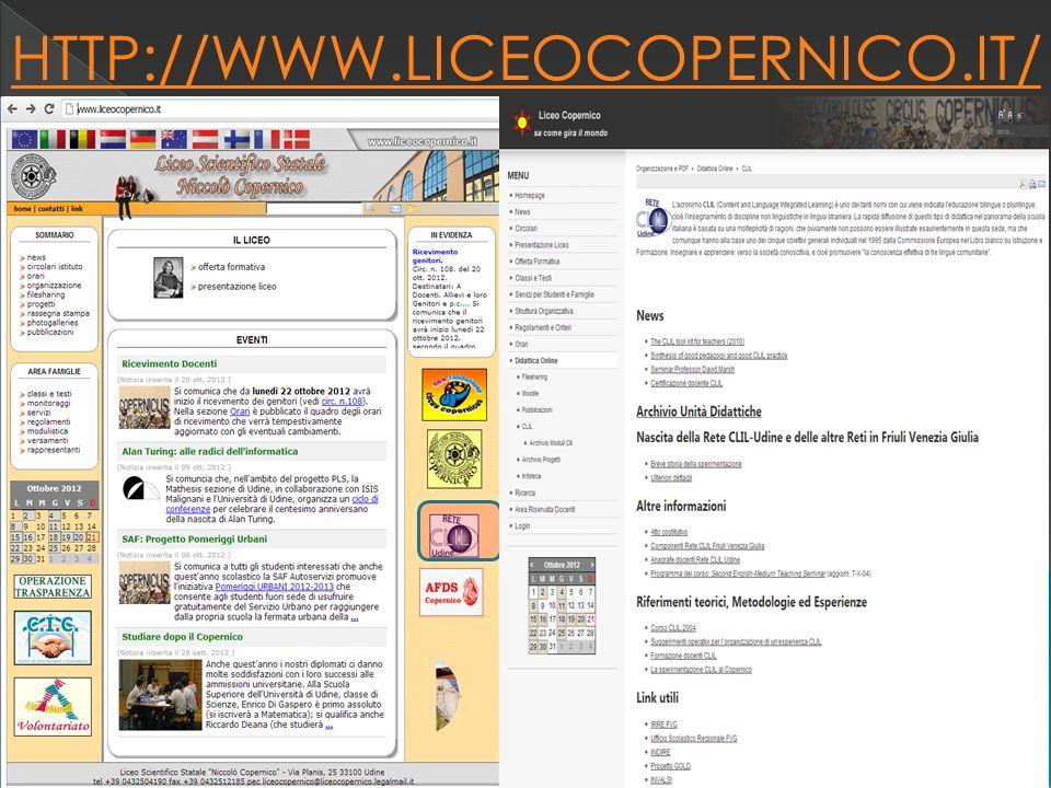 HTTP://WWW.LICEOCOPERNICO.IT/ a cura isp luigi torchio