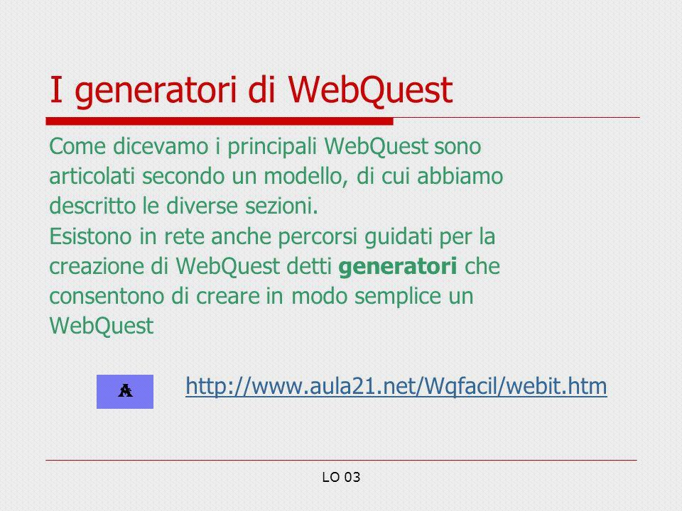 I generatori di WebQuest