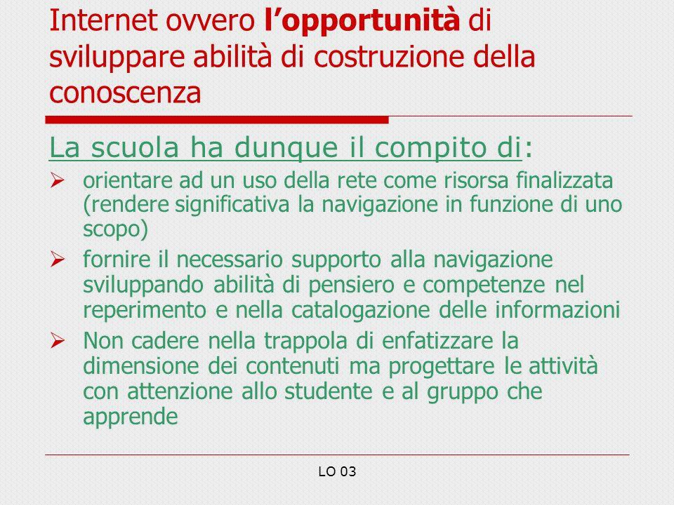 Internet ovvero l'opportunità di sviluppare abilità di costruzione della conoscenza