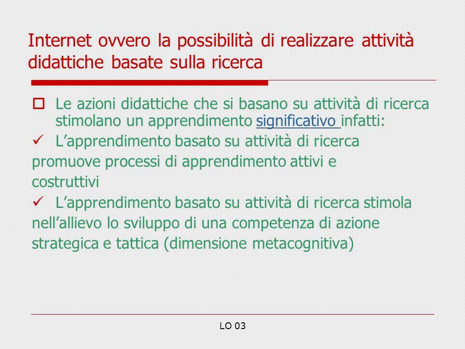 Internet ovvero la possibilità di realizzare attività didattiche basate sulla ricerca