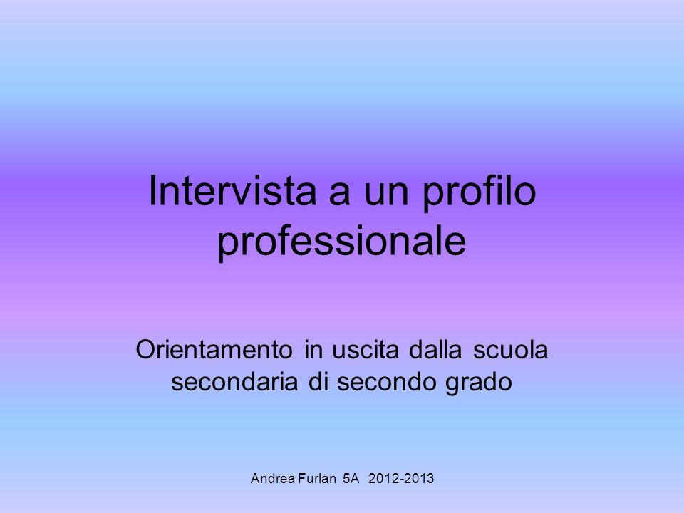 Intervista a un profilo professionale