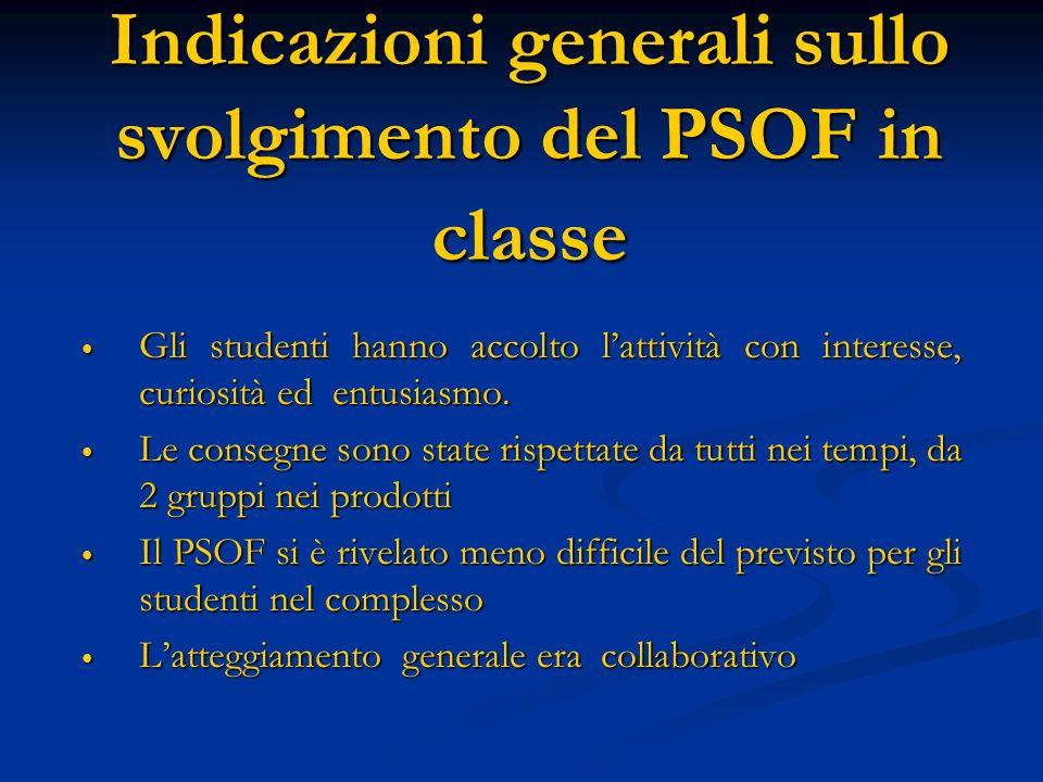 Indicazioni generali sullo svolgimento del PSOF in classe
