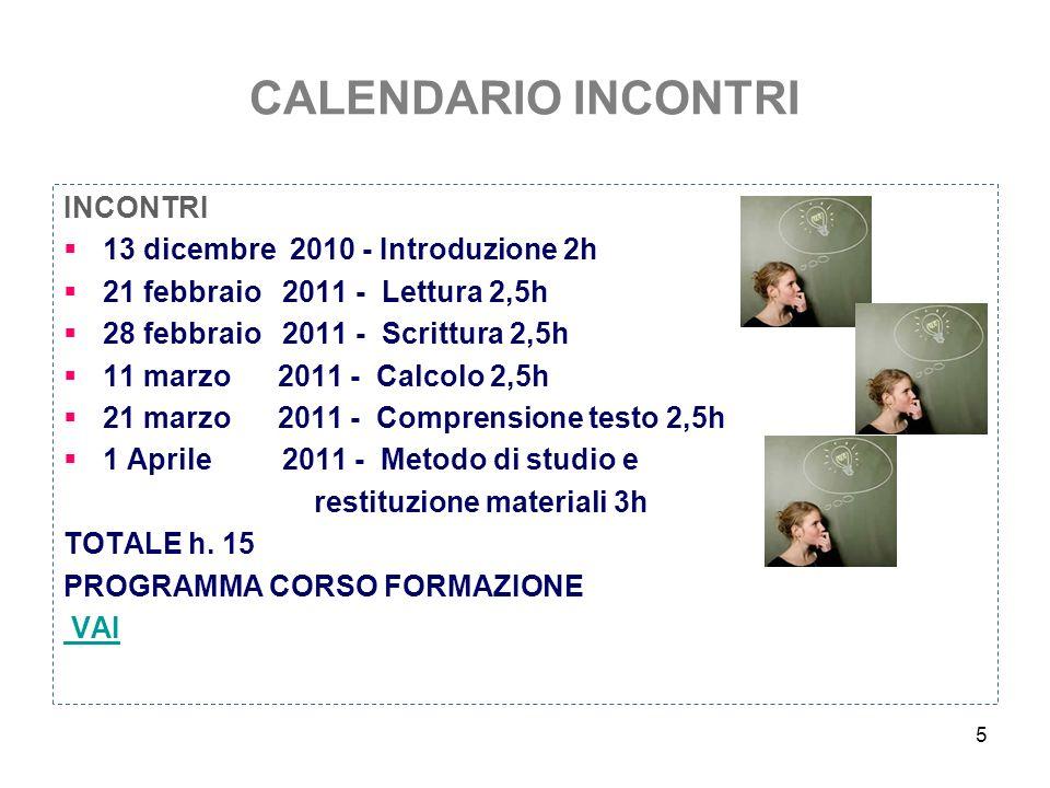 CALENDARIO INCONTRI INCONTRI 13 dicembre 2010 - Introduzione 2h