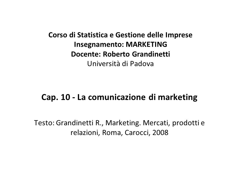 Cap. 10 - La comunicazione di marketing