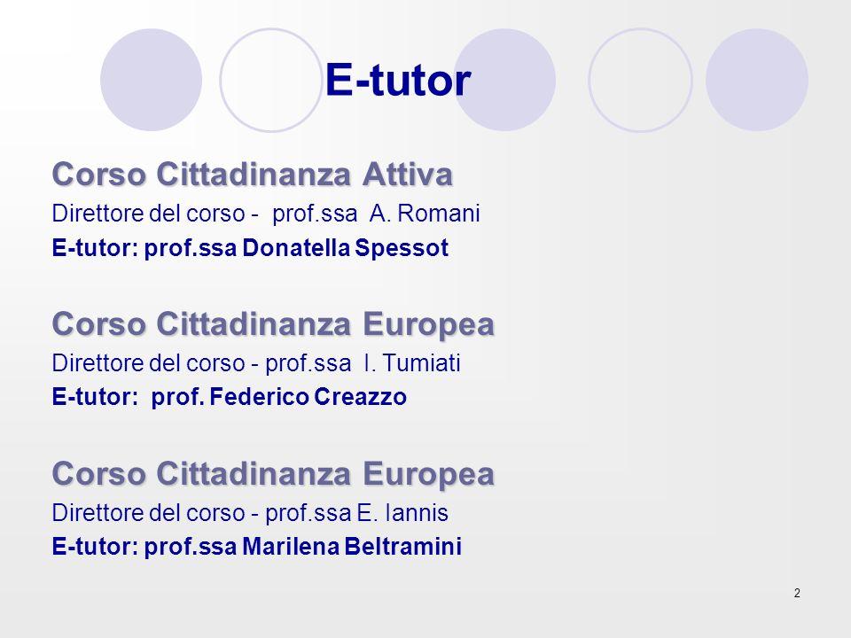 E-tutor Corso Cittadinanza Attiva Corso Cittadinanza Europea