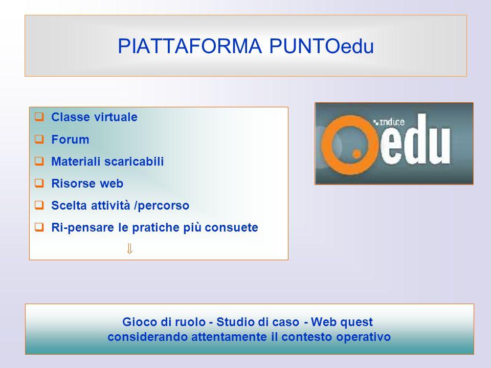 PIATTAFORMA PUNTOedu Classe virtuale Forum Materiali scaricabili