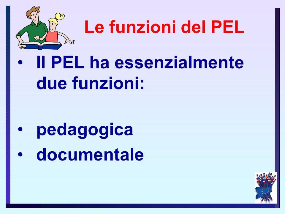Le funzioni del PEL Il PEL ha essenzialmente due funzioni: pedagogica documentale