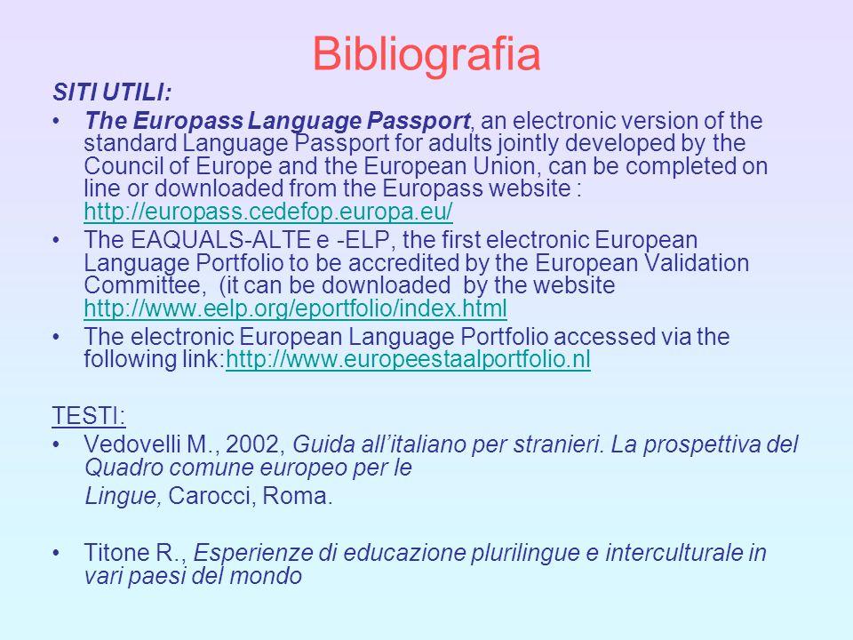 Bibliografia SITI UTILI: