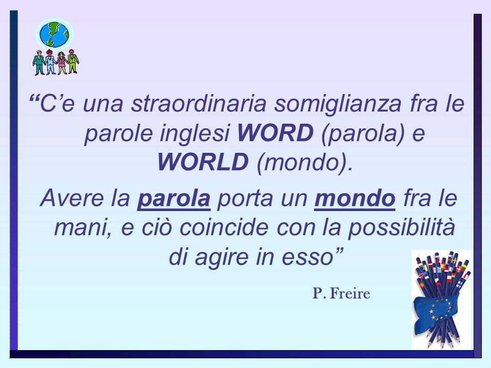 C'e una straordinaria somiglianza fra le parole inglesi WORD (parola) e WORLD (mondo).