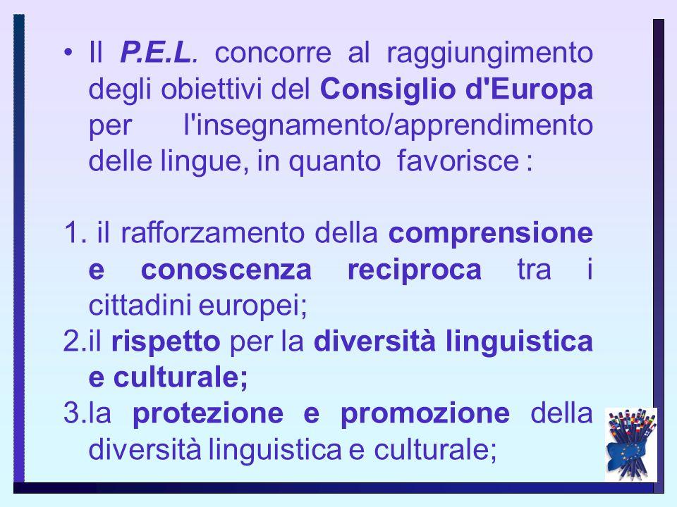 Il P.E.L. concorre al raggiungimento degli obiettivi del Consiglio d Europa per l insegnamento/apprendimento delle lingue, in quanto favorisce :