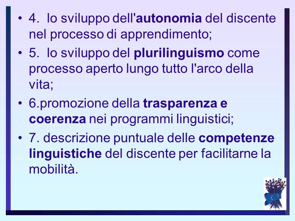 4. lo sviluppo dell autonomia del discente nel processo di apprendimento;