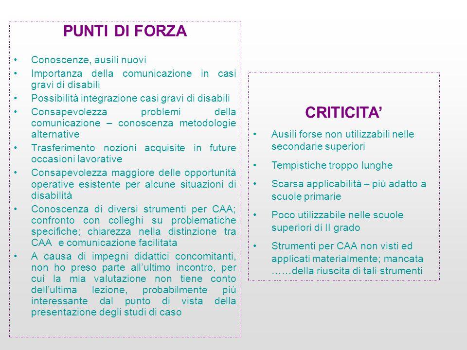 PUNTI DI FORZA CRITICITA'