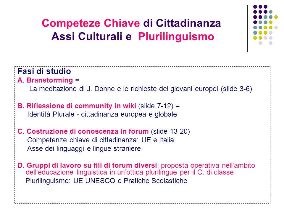 Competeze Chiave di Cittadinanza Assi Culturali e Plurilinguismo