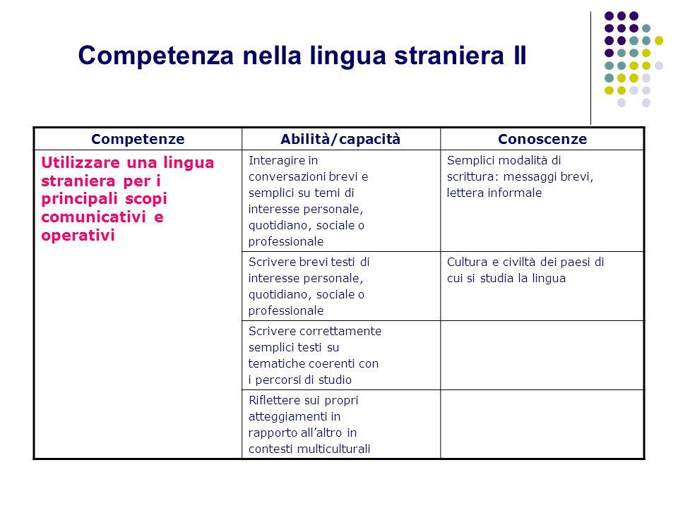 Competenza nella lingua straniera II