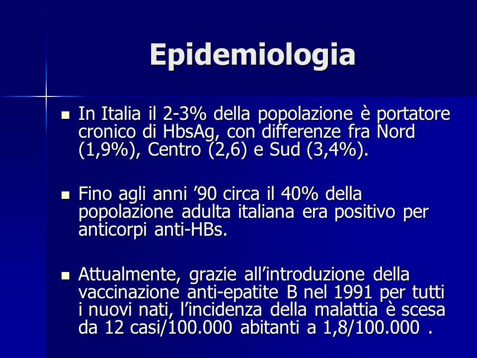 Epidemiologia In Italia il 2-3% della popolazione è portatore cronico di HbsAg, con differenze fra Nord (1,9%), Centro (2,6) e Sud (3,4%).