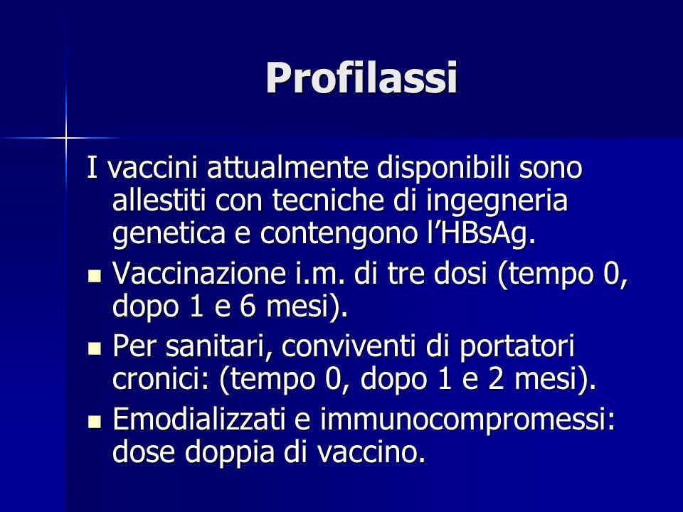 Profilassi I vaccini attualmente disponibili sono allestiti con tecniche di ingegneria genetica e contengono l'HBsAg.