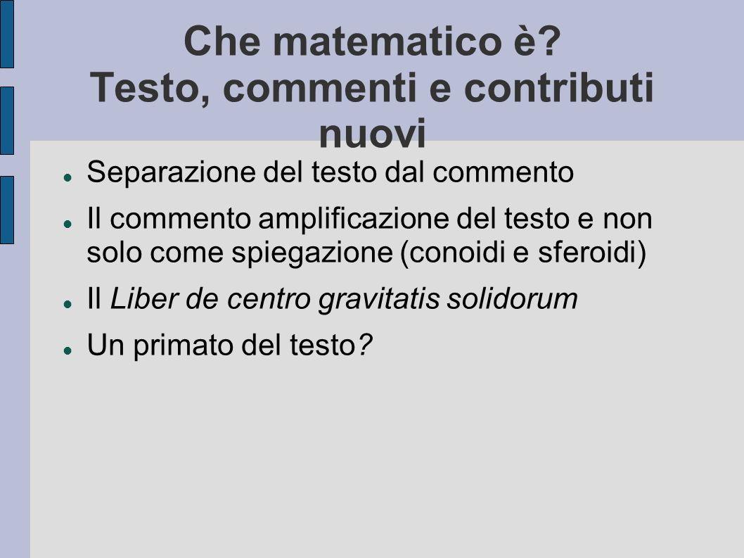 Che matematico è Testo, commenti e contributi nuovi