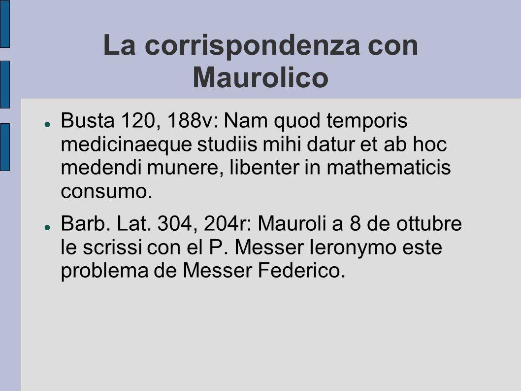 La corrispondenza con Maurolico