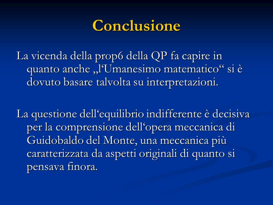 """ConclusioneLa vicenda della prop6 della QP fa capire in quanto anche """"l'Umanesimo matematico si è dovuto basare talvolta su interpretazioni."""