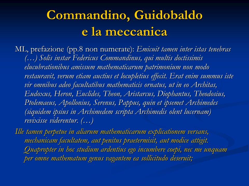 Commandino, Guidobaldo e la meccanica