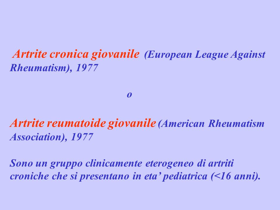 Artrite reumatoide giovanile (American Rheumatism Association), 1977